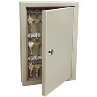 Supra 1801 Heavy Duty Lockable Key Cabinet 8.11 in W x 3.19 in D x 12.04 in H, 16 ga Steel, Clay