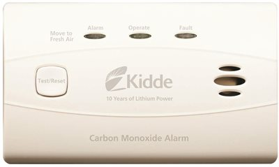 KIDDE WORRY FREE CARBON MONOXIDE ALARM FOR LIVING AREA WITH 10 YEAR SEALED LITHIUM BATTERY