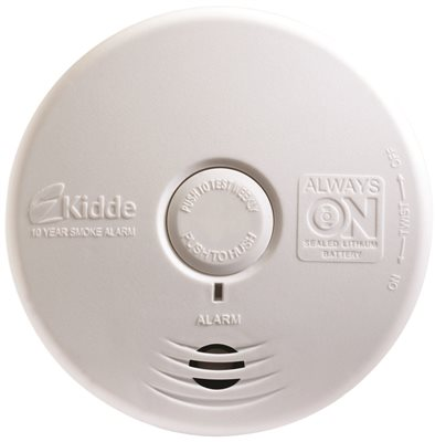 KIDDE WORRY-FREE PHOTOELECTRIC SMOKE ALARM FOR LIVING AREA, 10 YEAR SEALED LITHIUM BATTERY OPERATED