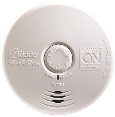 KIDDE WORRY FREE PHOTOELECTRIC 10 YEAR SMOKE AND CARBON MONOXIDE ALARM FOR KITCHEN WITH 10 YEAR SEALED LITHIUM BATTERY