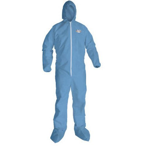 A65 Hood & Boot Flame-Resistant Coveralls, Blue, 2X-Large, 25/Carton