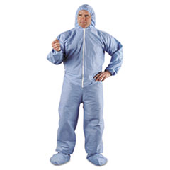 A65 Hood & Boot Flame-Resistant Coveralls, Blue, 4X-Large, 21/Carton