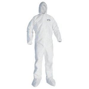 A30 Elastic Back and Cuff Hooded/Boots Coveralls, White, Large, 25/Carton