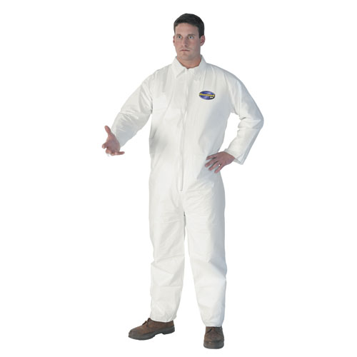 A40 Elastic-Cuff & Ankle Hooded Coveralls, White, Large, 25/Carton