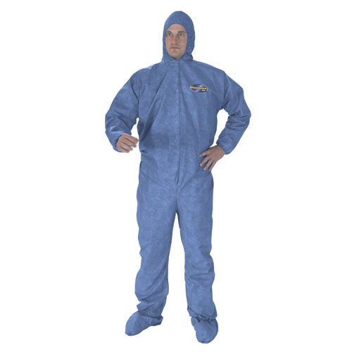 A60 Elastic-Cuff, Ankles & Back Hooded Coveralls, Blue, 2X-Large, 24/Case