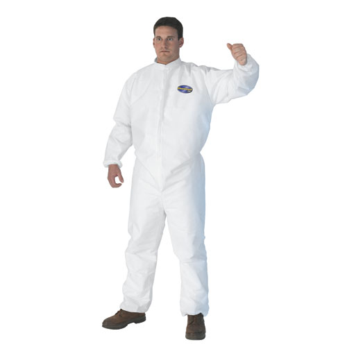 A30 Elastic-Back & Cuff Coveralls, White, X-Large, 25/Case