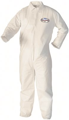 KLEENGUARD* A40 LIQUID AND PARTICLE PROTECTION COVERALLS, ZIPPER FRONT, WHITE, 3XL
