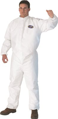 KLEENGUARD* A30 BREATHABLE SPLASH AND PARTICLE PROTECTION COVERALLS WITH ELASTIC BACK, FRONT ZIPPER, WHITE, LARGE