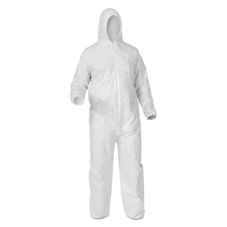 KLEENGUARD* A35 LIQUID AND PARTICLE PROTECTION COVERALLS, ZIPPER FRONT, WHITE, LARGE