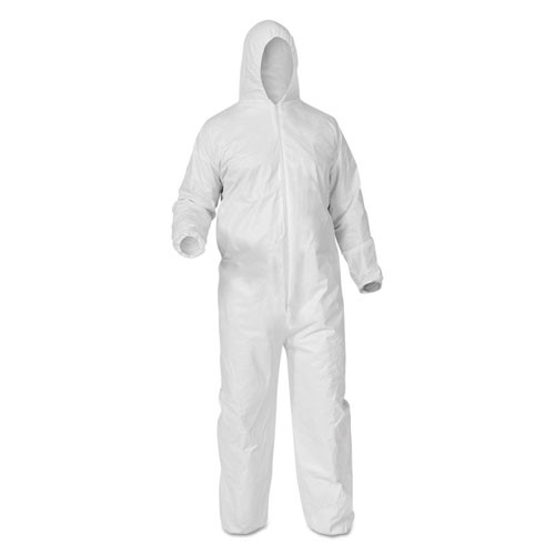 KLEENGUARD* A35 LIQUID AND PARTICLE PROTECTION COVERALLS, ZIPPER FRONT, WHITE, EXTRA LARGE