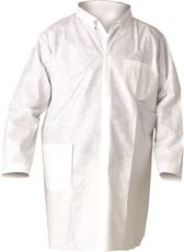 KLEENGUARD* A20 BREATHABLE PARTICLE PROTECTION LAB COAT, SNAP FRONT, WHITE, LARGE