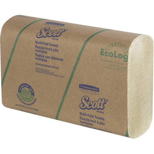 Multi-Fold Towels, 20% Plant Fiber/Absorbency Pkts,9 2/5x9 1/5, 250/Pk, 16 Pk/Ct