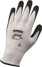 G60 ANSI Level 2 Cut-Resistant Glove, White/Blk, 240mm Length, Large/SZ 9, 12 PR