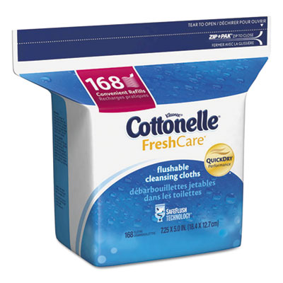 Kimberly-Clark Fresh Care Flushable Cleansing Cloths, White, 5 x 7 1/4, 168/Pack per EA