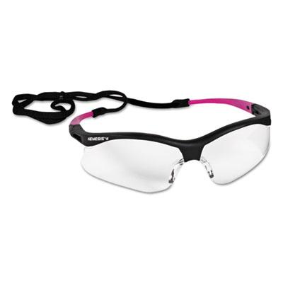 V30 Nemesis Safety Eyewear, Small, Black Frame w/Pink Tips, Clear Lens, 12/Ctn