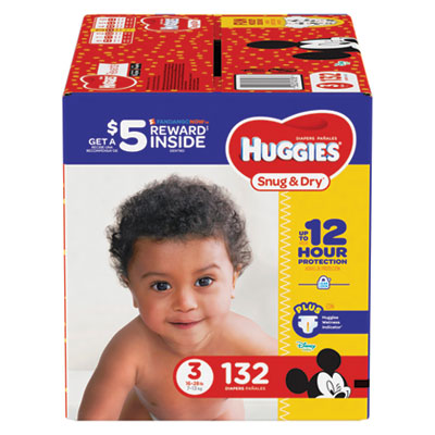 Snug and Dry Diapers, Size 3, 16 lb to 28 lb, 132/Pack