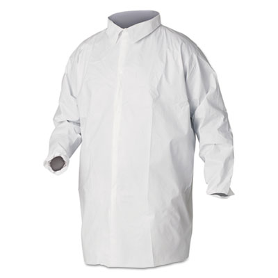A40 Liquid and Particle Protection Lab Coats, 2X-Large, White, 30/Carton