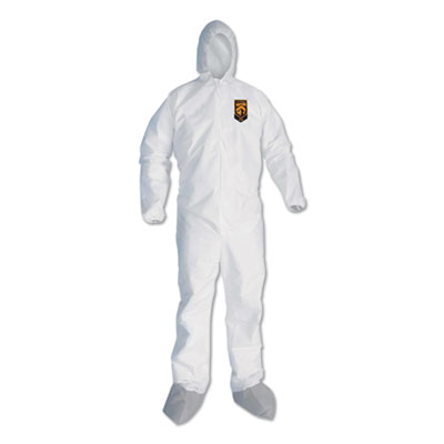 A45 Liquid/Particle Protection Surface Prep/Paint Coveralls, 2XL, White, 25/CT