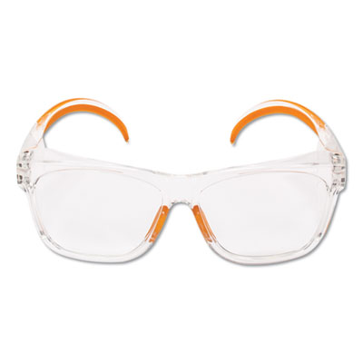 Maverick Safety Glasses, Clear/Orange, Polycarbonate Frame
