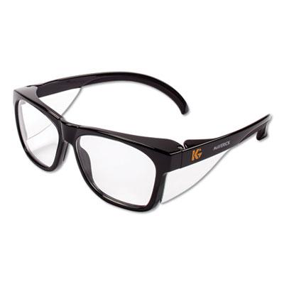 Maverick Safety Glasses, Black, Polycarbonate Frame, Clear Lens