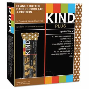Plus Nutrition Boost Bar, Peanut Butter Dark Chocolate/Protein, 1.4 oz, 12/Box