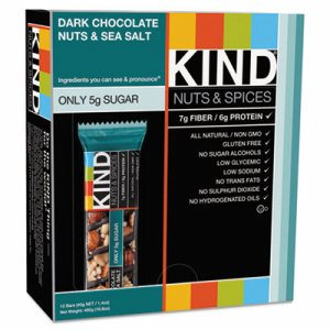 Nuts and Spices Bar, Dark Chocolate Nuts and Sea Salt, 1.4 oz, 12/Box