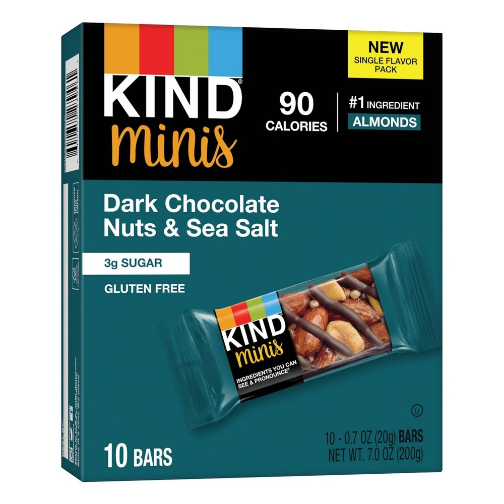 Minis, Dark Chocolate Nuts/Sea Salt, 0.7 oz, 10/Pack