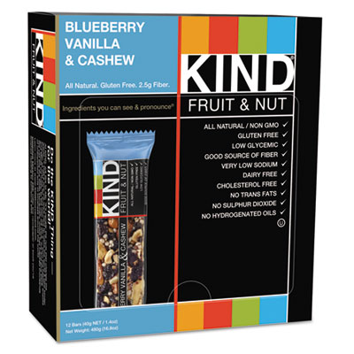 Fruit and Nut Bars, Blueberry Vanilla and Cashew, 1.4 oz Bar, 12/Box