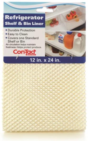 Con-Tact KTCH-CRB006-12 Non-Adhesive Refrigerator Bin Liner, 24 in L x 12 in W, White