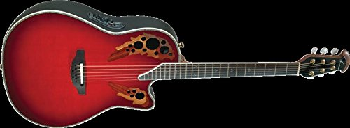 Ovation Custom Elite, Deep Contour Cutaway, Red Tear Drop, w/ Case