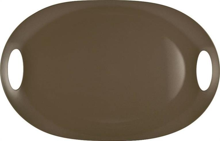 Knack3 165012I Serving Tray, With Handles 21 in W x 13-3/4 in L, Melamine, Dark Warm Gray