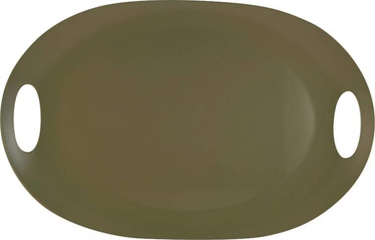 Knack3 165013I Serving Tray, With Handles 21 in W x 13-3/4 in L, Melamine, Warm Gray