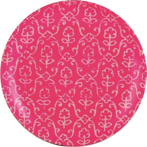 Knack3 185704I 2-Tone Salad Plate, 8 in Dia, Melamine, Pink