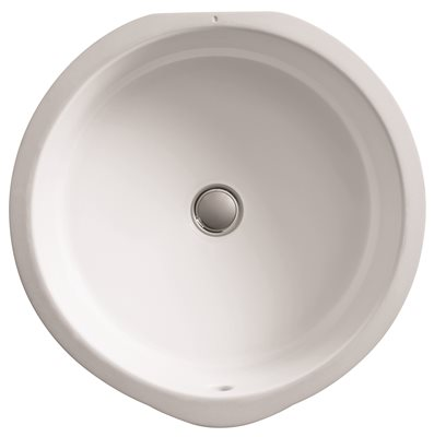 KOHLER VERTICYL� ROUND UNDERCOUNTER BATHROOM SINK WITH NO FAUCET HOLE DRILLING, 15-3/4 IN. WIDE DIAMETER, WHITE