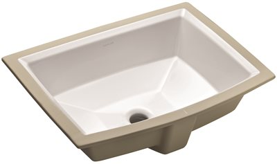 KOHLER ARCHER� UNDERMOUNT BATHROOM SINK, NO FAUCET HOLES, WHITE