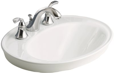 KOHLER SERIF� DROP-IN BATHROOM SINK WITH 8 IN. WIDESPREAD FAUCET HOLES, WHITE