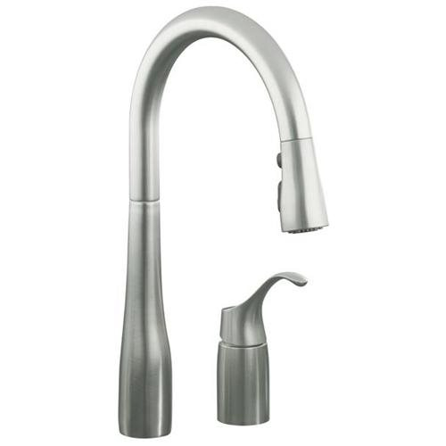 KOHLER SIMPLICE� PULL-DOWN KITCHEN SINK FAUCET WITH 9 IN. SPOUT REACH, VIBRANT STAINLESS STEEL