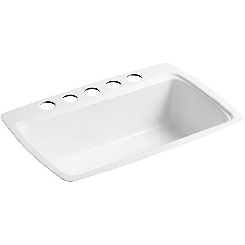 KOHLER CAPE DORY� UNDER MOUNT SINGLE BOWL KITCHEN SINK WITH FIVE FAUCET HOLES, 33 IN. X 22 IN. X 9-5/8 IN., WHITE