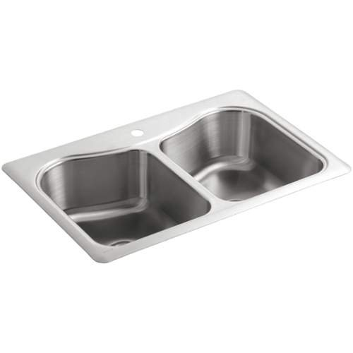 KOHLER STACCATO� TOP-MOUNT DOUBLE BOWL KITCHEN SINK WITH SINGLE FAUCET HOLE, STAINLESS STEEL