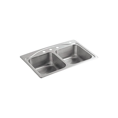 KOHLER CADENCE� TOP MOUNT KITCHEN SINK WITH FOUR FAUCET HOLES, 33 IN. X 22 IN. X 8-5/16 IN., STAINLESS STEEL