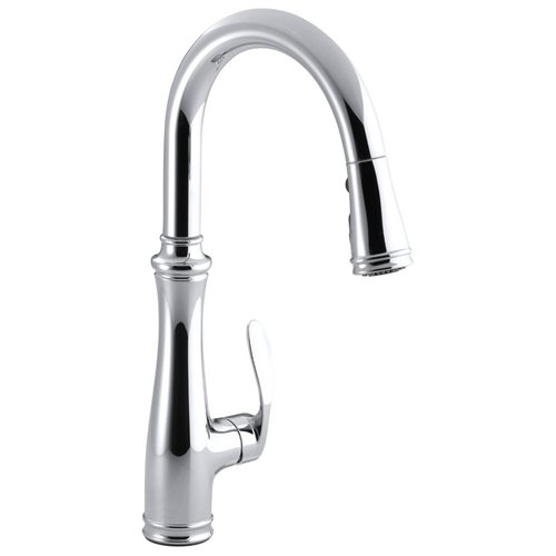 KOHLER BELLERA� PULLDOWN KITCHEN FAUCET WITH PULL-DOWN SPOUT AND RIGHT-HAND LEVER HANDLE, POLISHED CHROME