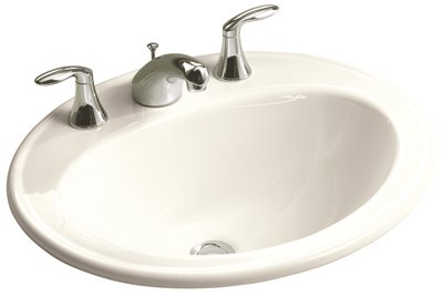 KOHLER PENNINGTON� DROP-IN BATHROOM SINK WITH 8 IN. WIDESPREAD FAUCET HOLES, WHITE