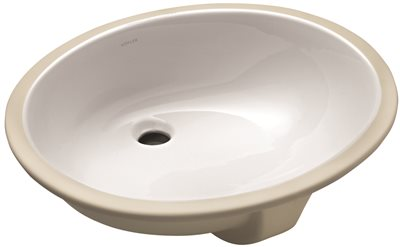 KOHLER CAXTON� UNDERMOUNT BATHROOM SINK WITH OVERFLOW AND CLAMP ASSEMBLY, 20-1/4 IN. LONG X 17-1/4 IN. WIDE, WHITE