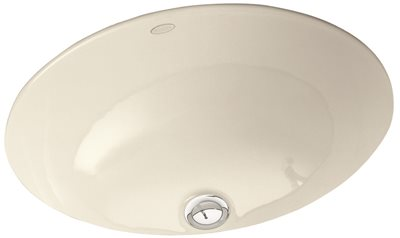 KOHLER CAXTON� UNDERMOUNT BATHROOM SINK WITH CLAMP ASSEMBLY, 17 IN. LONG X 14 IN. WIDE, WHITE