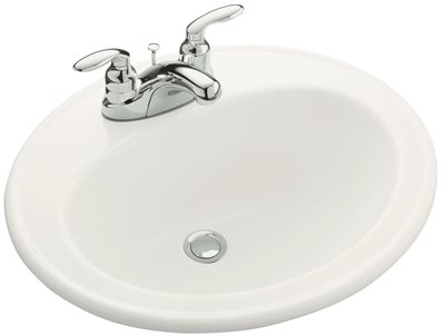 KOHLER PENNINGTON� DROP-IN BATHROOM SINK WITH 4 IN. CENTERSET FAUCET HOLES, WHITE