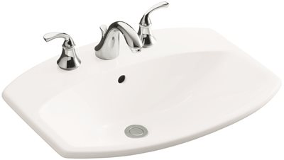KOHLER CIMARRON� DROP-IN BATHROOM SINK WITH 4 IN. CENTERSET FAUCET HOLES, WHITE