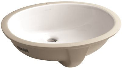 KOHLER CAXTON� UNDERMOUNT BATHROOM SINK WITH OVERFLOW AND CLAMP ASSEMBLY, 19-1/4 IN. LONG X 16-1/4 IN. WIDE, WHITE