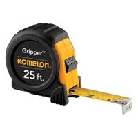 Komelon Gripper Measure Tape, 25 ft L X 1 in W, Steel