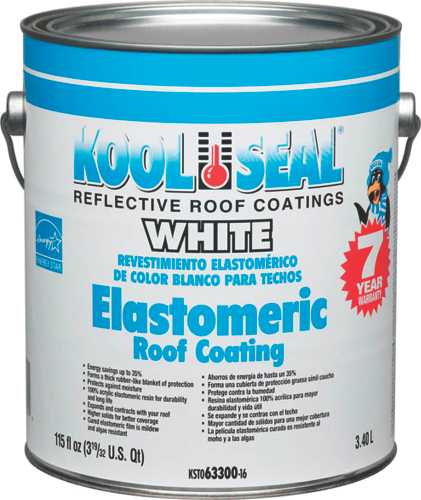 KOOL SEAL ELASTOMERIC ROOF COATING, WHITE, 1 GALLON