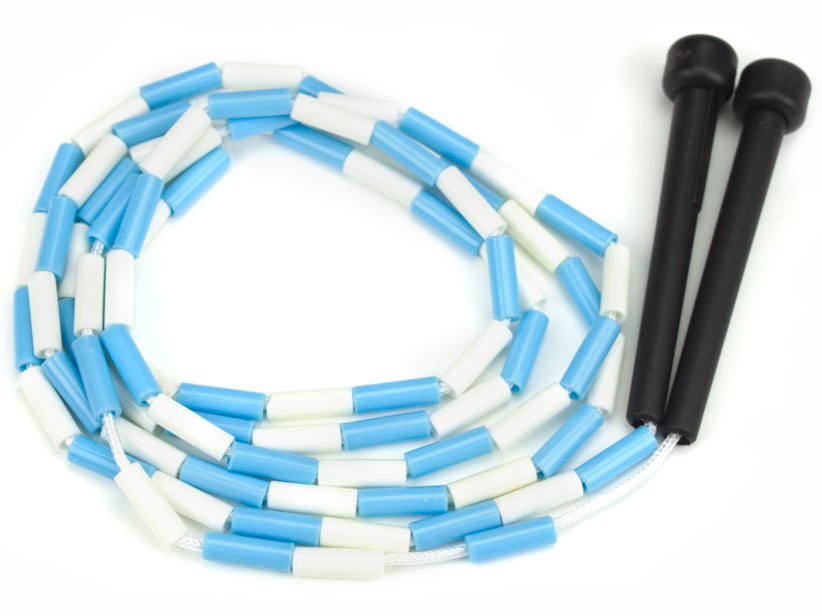 Blue and White 7-foot jump rope with plastic segmentation
